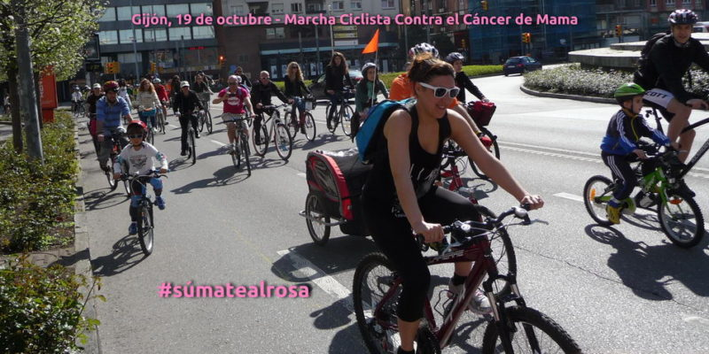 Banner bicicletada 30 Días en Bici Día Contra el Cáncer de Mama en Gijón
