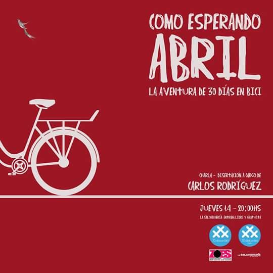 Cartel del encuentro de Carlos Rodríguez con el Grupo Local de 30 Días en Bici Salamanca en La Salchichería en 2016