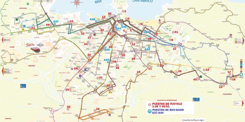Mapa Intermodal 2019 GIJON BUS&RIDE EMTUSA TUCYCLE 30 DIAS en BICI