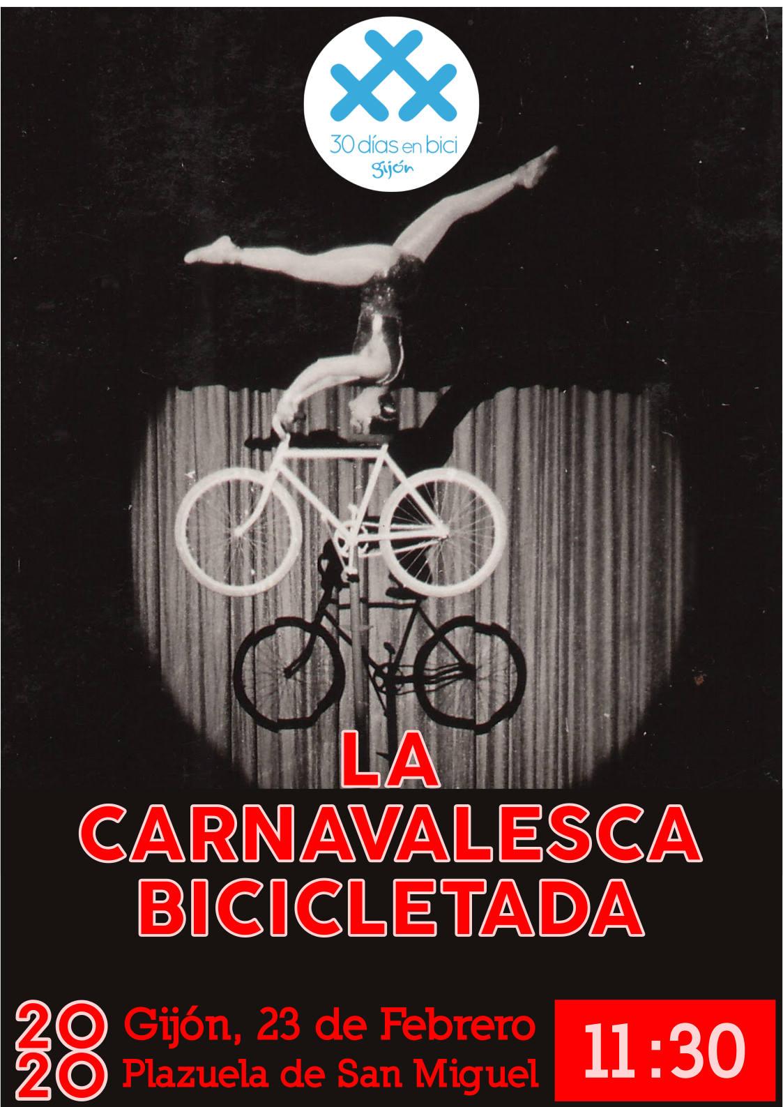 Cartel de La Carnavalesca Bicicletada 30DEB 2020 - 30 Días en Bici