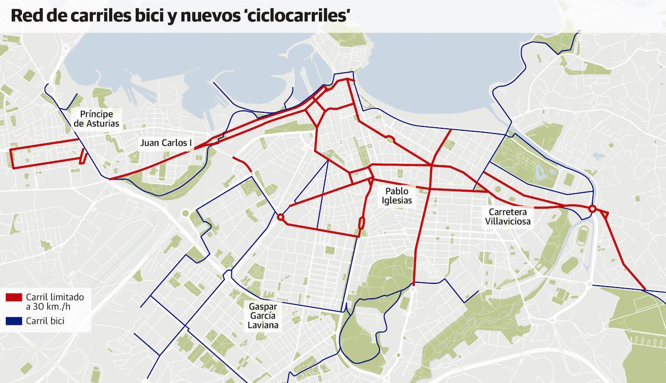 Plano de la red de ciclocarriles tácticos de Gijón - 30 Días en Bici Gijón