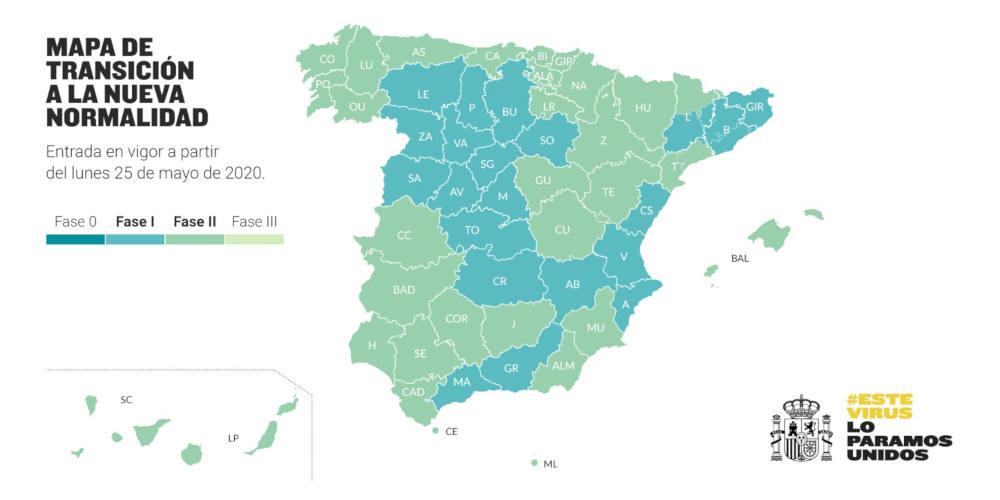 Mapa de Fase II España - Uso de la bicicleta desde el LUNES 25 de mayo - 30 Días en Bici