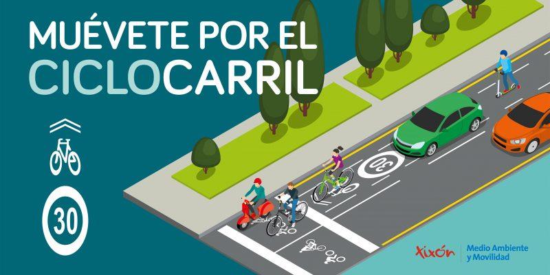 Banner campaña 'Muévete por el ciclocarril' - 30 Días en Bici Gijón