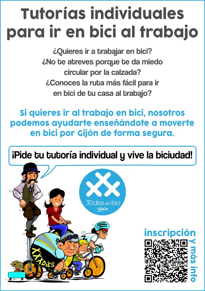 Flyer Tutorías individuales para ir en bici al trabajo - 30 Días en Bici Gijón