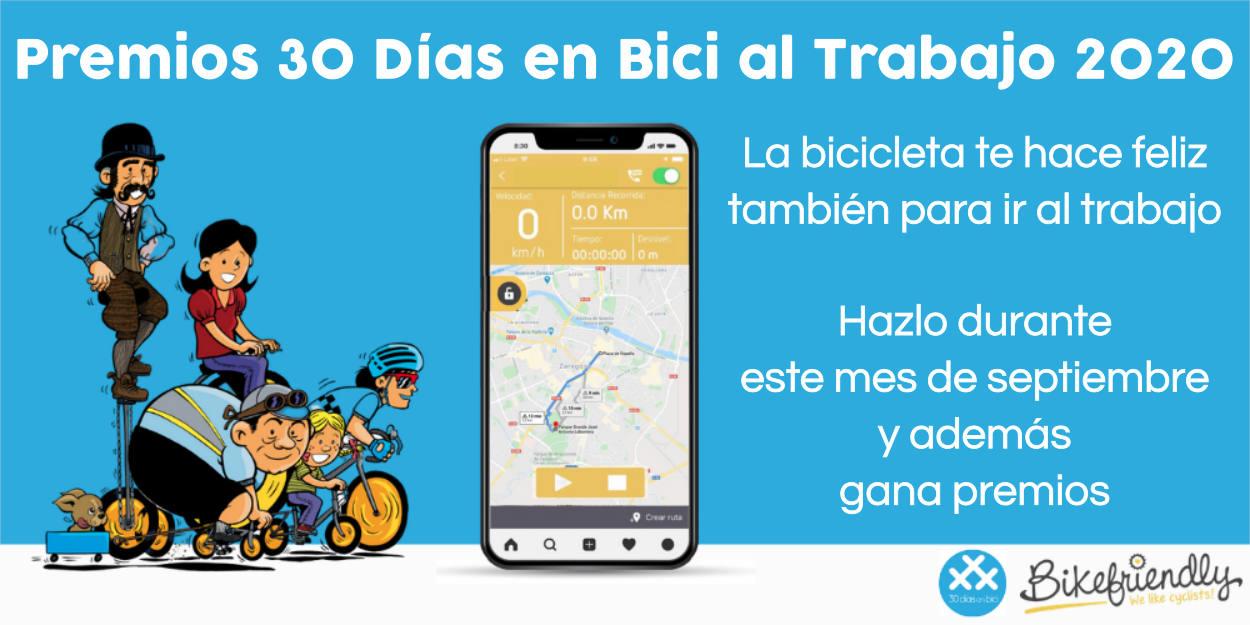 Banner destacado de los Premios 30 Días en Bici al Trabajo 2020 - Programa #enbicialtrabajo 2020