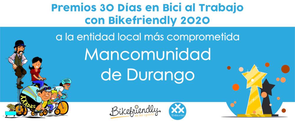 Premio Mancomunidad de Durango - Premios 30 Días en Bici al Trabajo con Bikefriendly 2020