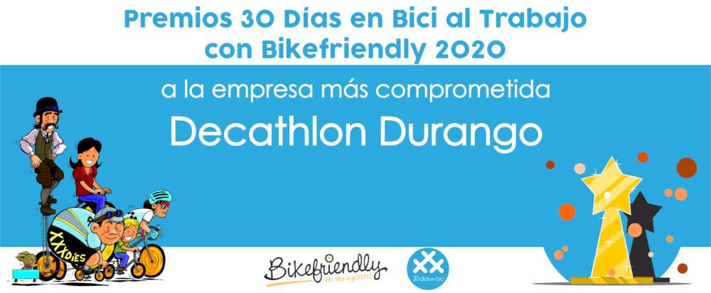 Premio Decathlon Durango - Premios 30 Días en Bici al Trabajo con Bikefriendly 2020