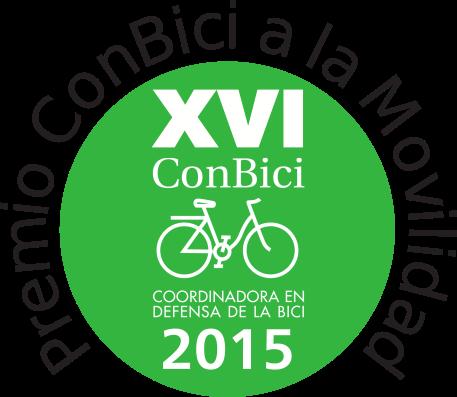 """Badge del premio La Coordinadora ConBici otorga el XIII Premio ConBici a la Movilidad Sostenible a 30 Días en Bici, """"por su trayectoria de promoción del uso cotidiano de la bicicleta como modo de transporte y por la originalidad de su acción"""