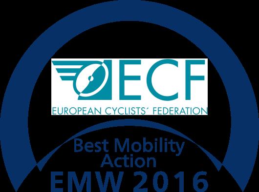 Badge del Premio ECF Best Mobility Action para 30 Días en Bici Gijón