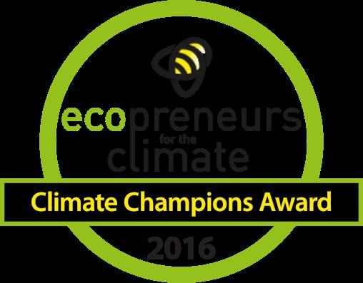 """Badge de los Climate Champions Award en el evento Ecoemprendedores por el Clima de 2016, con el proyecto """"Activa tu Energía"""", ganado por 30 Días en Bici AC"""