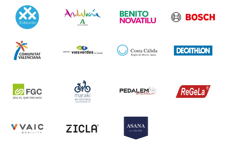 Logos de Empresas representadas en Stand y Ponencia en CICLOBCN21 - 30 Días en Bici